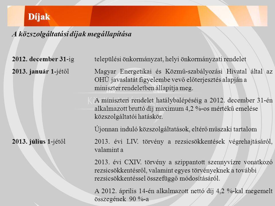 Díjak A közszolgáltatási díjak megállapítása 2012.