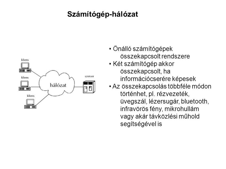 • Önálló számítógépek összekapcsolt rendszere • Két számítógép akkor összekapcsolt, ha információcserére képesek • Az összekapcsolás többféle módon történhet, pl.