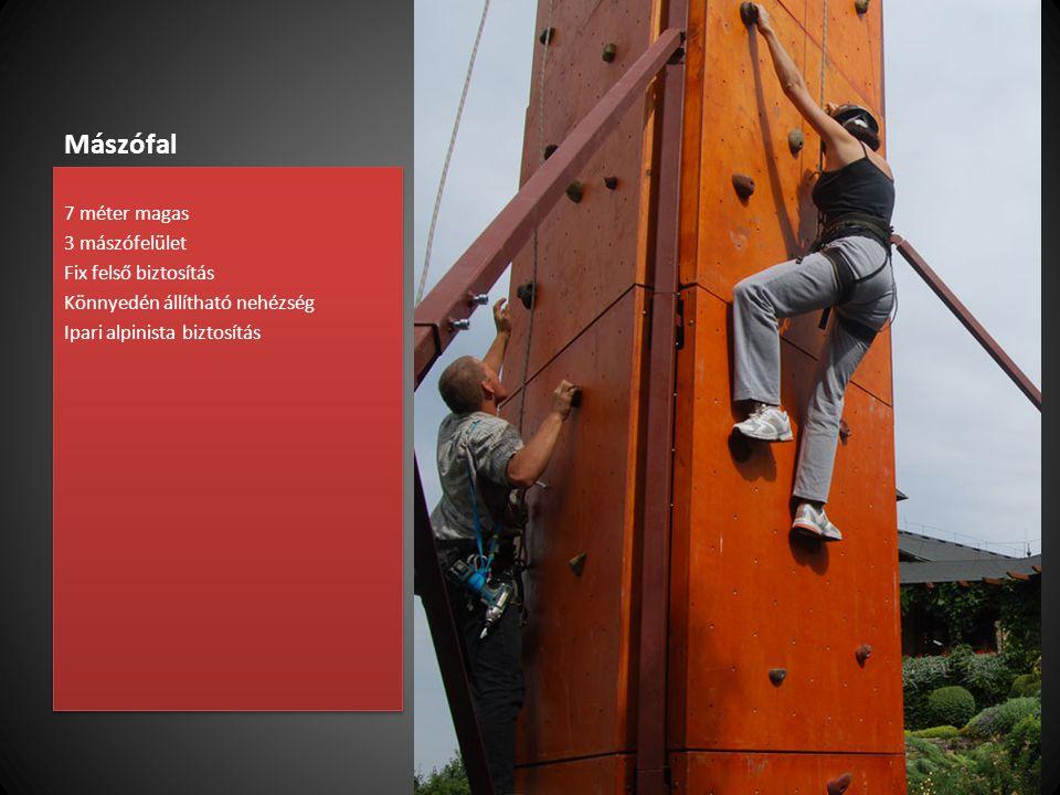 Mászófal 7 méter magas 3 mászófelület Fix felső biztosítás Könnyedén állítható nehézség Ipari alpinista biztosítás 7 méter magas 3 mászófelület Fix fe