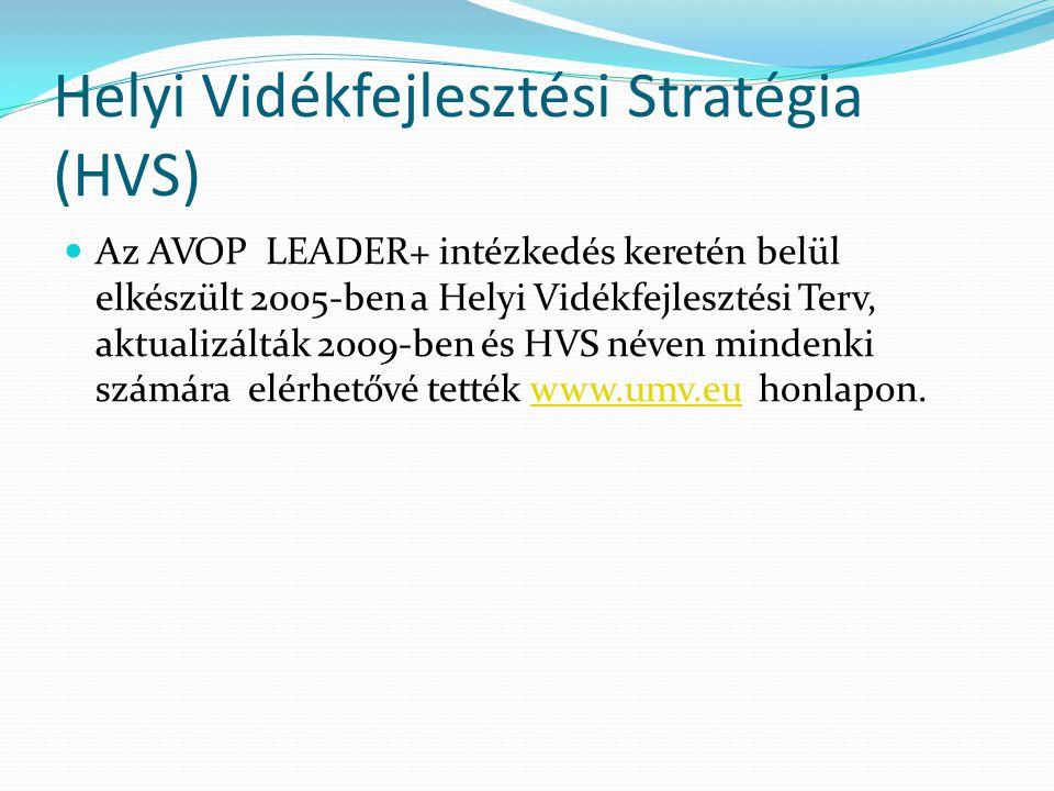 Helyi Vidékfejlesztési Stratégia (HVS)  Az AVOP LEADER+ intézkedés keretén belül elkészült 2005-ben a Helyi Vidékfejlesztési Terv, aktualizálták 2009-ben és HVS néven mindenki számára elérhetővé tették www.umv.eu honlapon.www.umv.eu