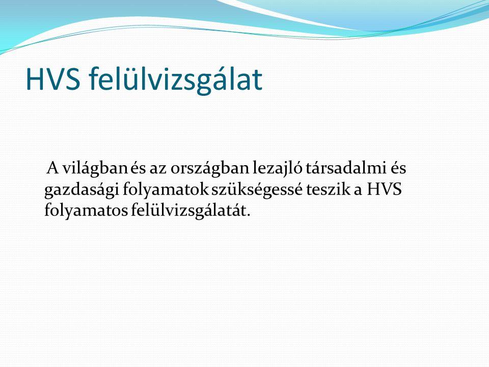 HVS felülvizsgálat A világban és az országban lezajló társadalmi és gazdasági folyamatok szükségessé teszik a HVS folyamatos felülvizsgálatát.