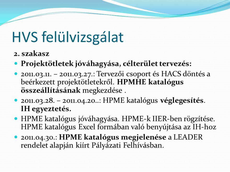 HVS felülvizsgálat 2. szakasz  Projektötletek jóváhagyása, célterület tervezés:  2011.03.11.