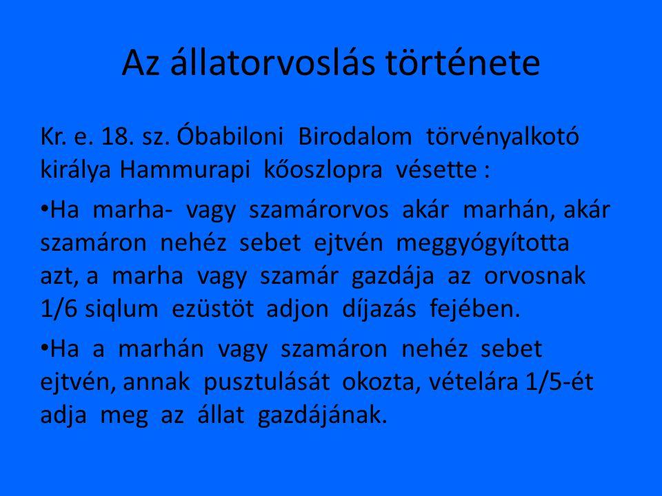 Az állatorvoslás története • XVIII.
