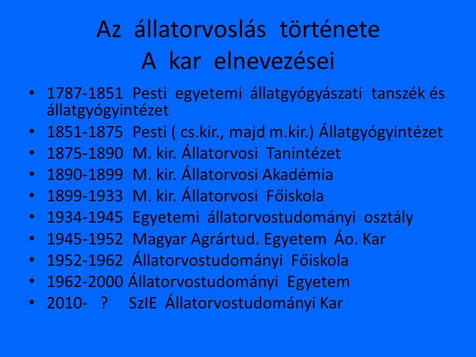 Az állatorvoslás története A kar elnevezései • 1787-1851 Pesti egyetemi állatgyógyászati tanszék és állatgyógyintézet • 1851-1875 Pesti ( cs.kir., maj