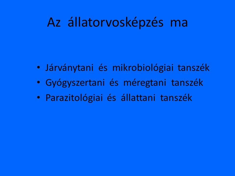 Az állatorvosképzés ma • Járványtani és mikrobiológiai tanszék • Gyógyszertani és méregtani tanszék • Parazitológiai és állattani tanszék