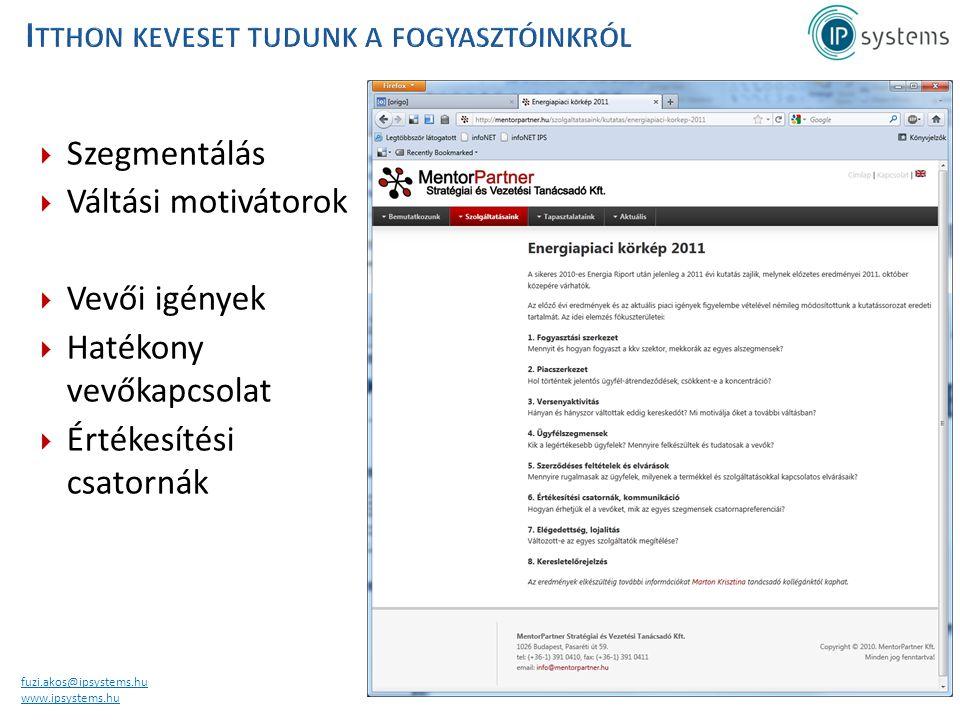 fuzi.akos@ipsystems.hu www.ipsystems.hu  Szegmentálás  Váltási motivátorok  Vevői igények  Hatékony vevőkapcsolat  Értékesítési csatornák