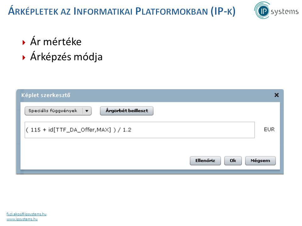 fuzi.akos@ipsystems.hu www.ipsystems.hu  Ár mértéke  Árképzés módja