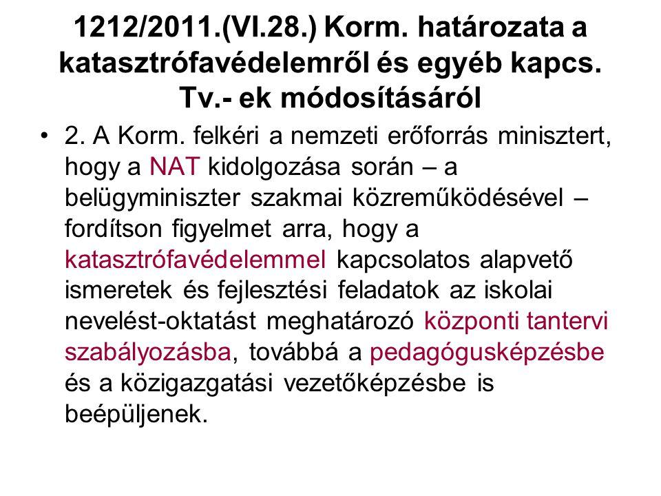 1212/2011.(VI.28.) Korm.határozata a katasztrófavédelemről és egyéb kapcs.