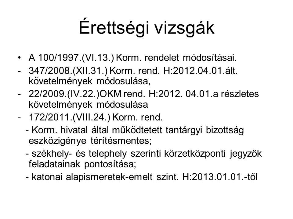 Érettségi vizsgák •A 100/1997.(VI.13.) Korm.rendelet módosításai.