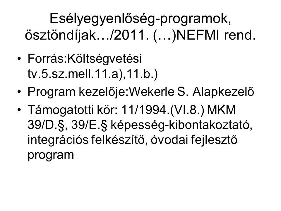 Esélyegyenlőség-programok, ösztöndíjak…/2011.(…)NEFMI rend.