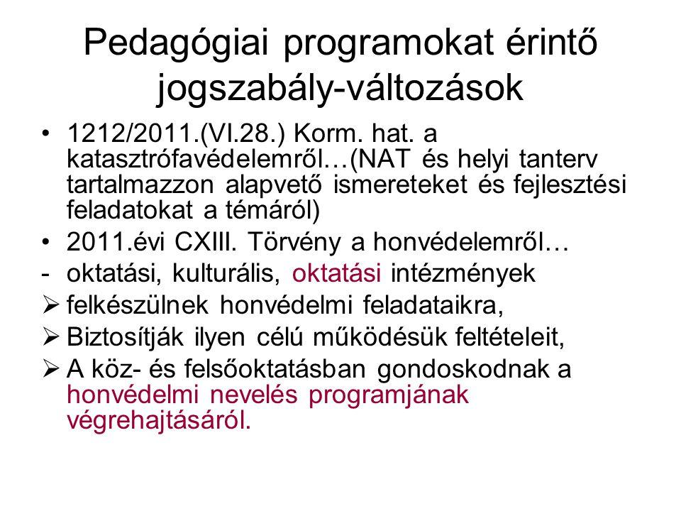 Pedagógiai programokat érintő jogszabály-változások •1212/2011.(VI.28.) Korm.