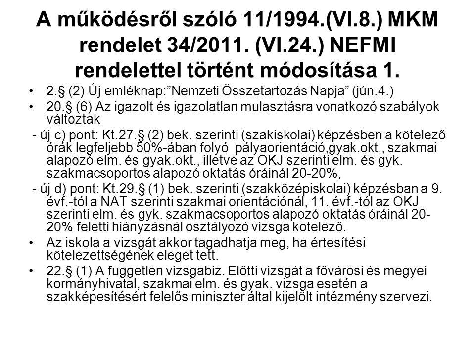 A működésről szóló 11/1994.(VI.8.) MKM rendelet 34/2011.