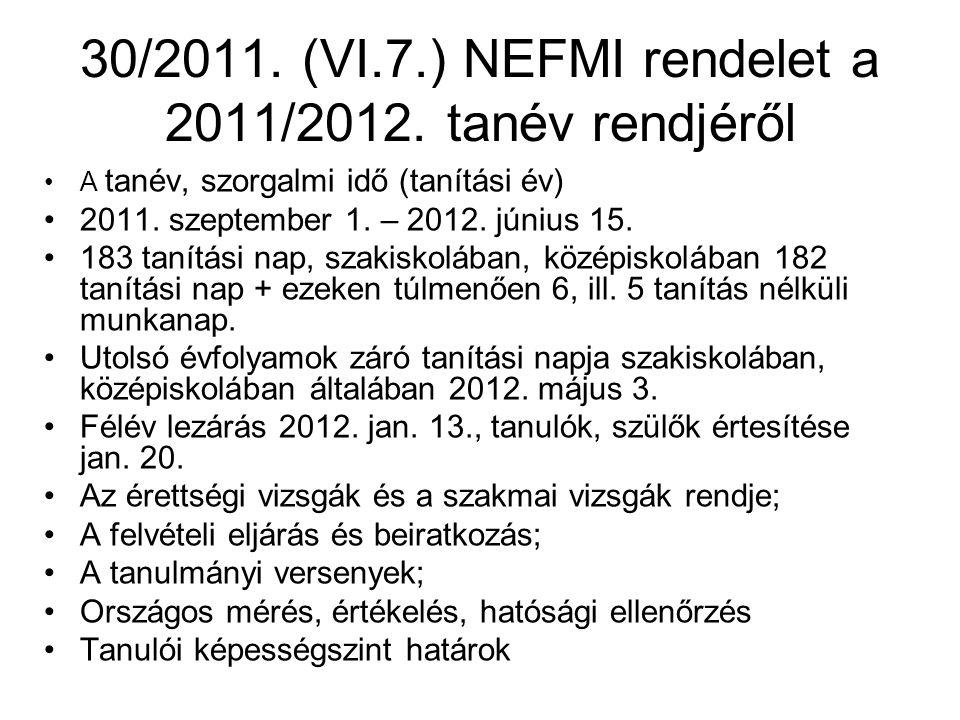 30/2011.(VI.7.) NEFMI rendelet a 2011/2012.