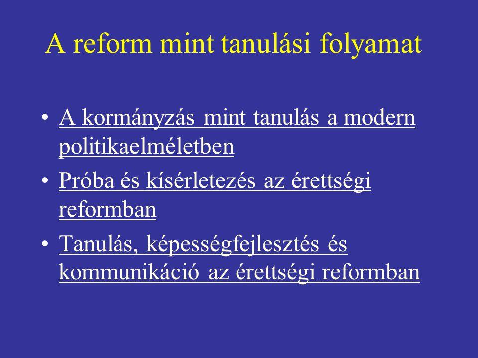 A reform mint tanulási folyamat •A kormányzás mint tanulás a modern politikaelméletbenA kormányzás mint tanulás a modern politikaelméletben •Próba és