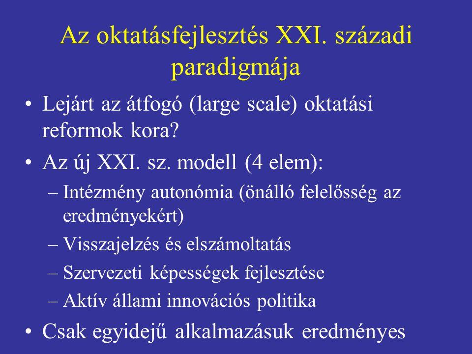 Az oktatásfejlesztés XXI. századi paradigmája •Lejárt az átfogó (large scale) oktatási reformok kora? •Az új XXI. sz. modell (4 elem): –Intézmény auto