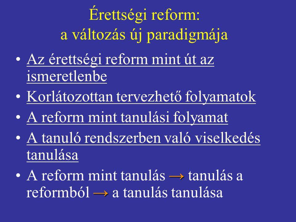 """Üzenet az oktatási változások kutatóinak •A jövőben az átfogó rendszer-reformok ritkák lesznek, de ha lesznek, ezek csak """"tanuló rendszerként szervezhetőek meg •A """"reformnak mint tanuló rendszernek komoly társadalmi és szakmai feltételei vannak •Az érettségi reform egyik tanulsága: meg kell tanulnunk tanulóként reformálni"""
