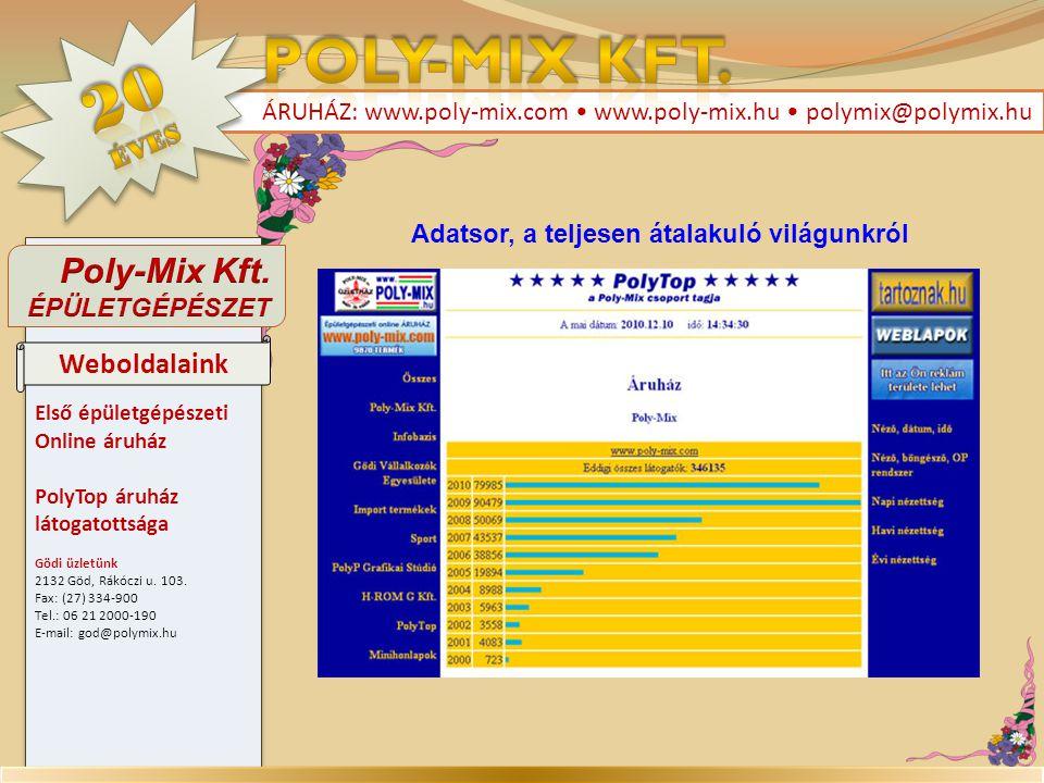 Első épületgépészeti Online áruház PolyTop áruház látogatottsága Gödi üzletünk 2132 Göd, Rákóczi u. 103. Fax: (27) 334-900 Tel.: 06 21 2000-190 E-mail