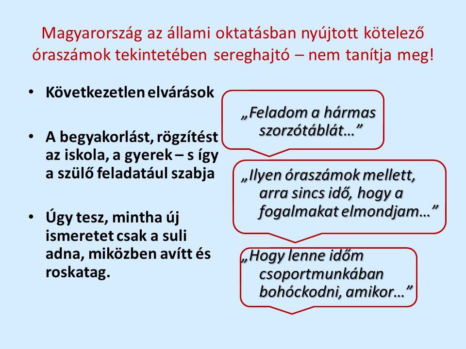Magyarország az állami oktatásban nyújtott kötelező óraszámok tekintetében sereghajtó – nem tanítja meg! • Következetlen elvárások • A begyakorlást, r