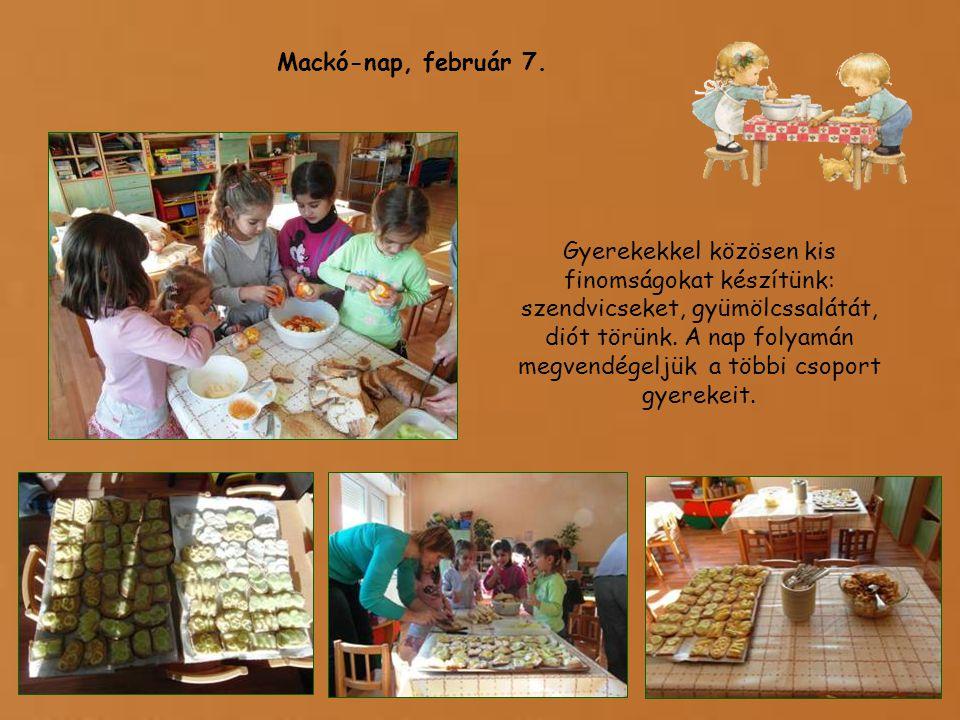 Gyerekekkel közösen kis finomságokat készítünk: szendvicseket, gyümölcssalátát, diót törünk.