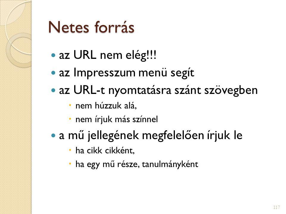 Netes forrás  az URL nem elég!!!  az Impresszum menü segít  az URL-t nyomtatásra szánt szövegben  nem húzzuk alá,  nem írjuk más színnel  a mű j