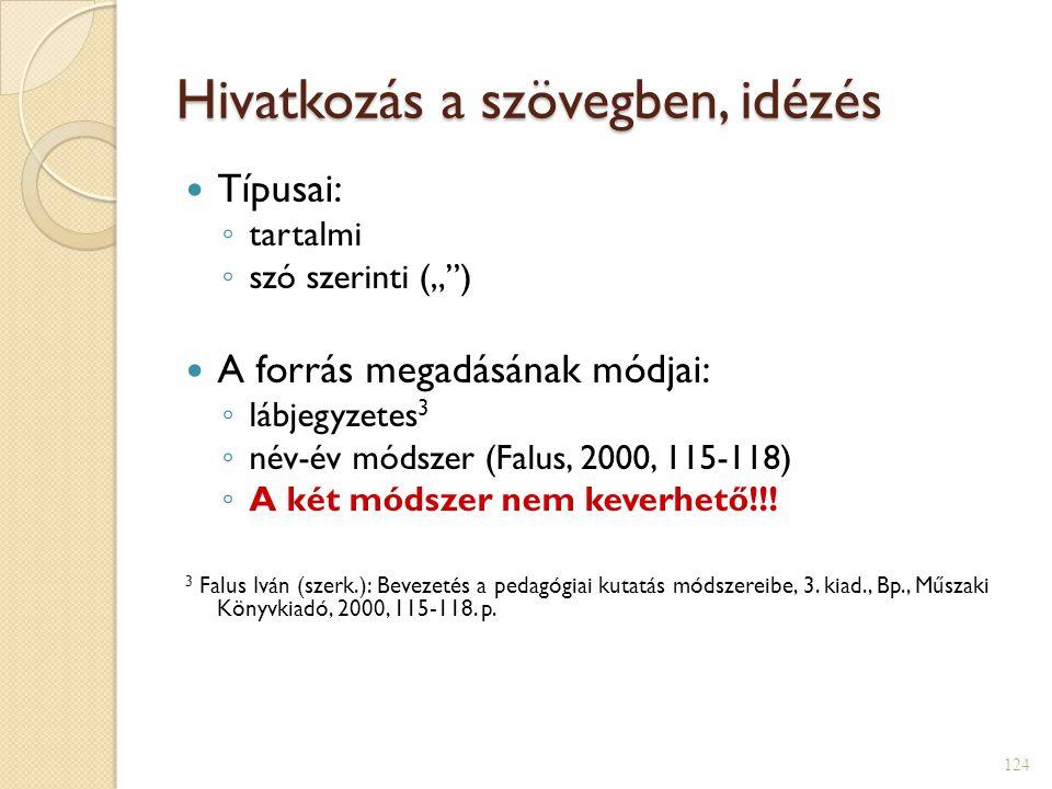 """Hivatkozás a szövegben, idézés  Típusai: ◦ tartalmi ◦ szó szerinti ("""" )  A forrás megadásának módjai: ◦ lábjegyzetes 3 ◦ név-év módszer (Falus, 2000, 115-118) ◦ A két módszer nem keverhető!!."""