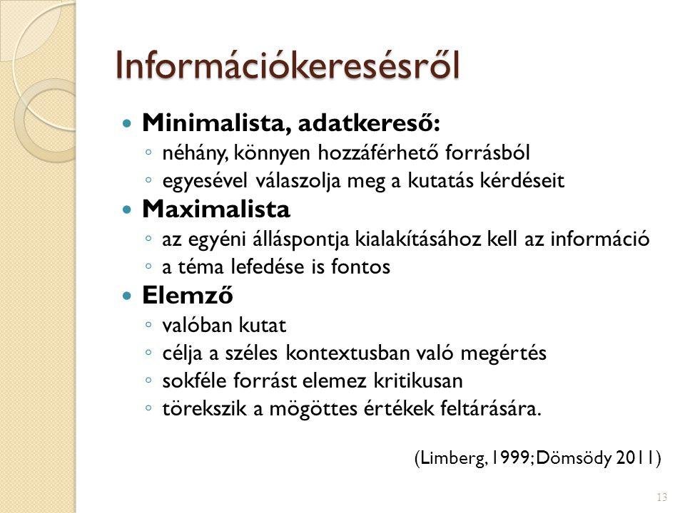 Információkeresésről  Minimalista, adatkereső: ◦ néhány, könnyen hozzáférhető forrásból ◦ egyesével válaszolja meg a kutatás kérdéseit  Maximalista