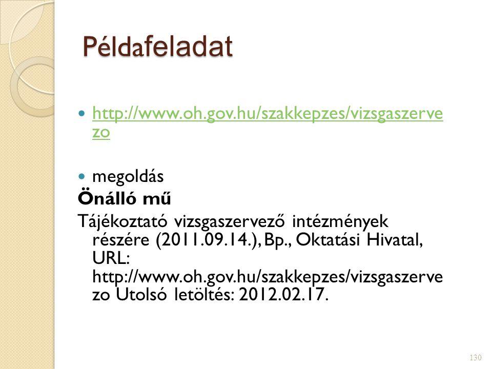 Példa feladat  http://www.oh.gov.hu/szakkepzes/vizsgaszerve zo http://www.oh.gov.hu/szakkepzes/vizsgaszerve zo  megoldás Önálló mű Tájékoztató vizsgaszervező intézmények részére (2011.09.14.), Bp., Oktatási Hivatal, URL: http://www.oh.gov.hu/szakkepzes/vizsgaszerve zo Utolsó letöltés: 2012.02.17.