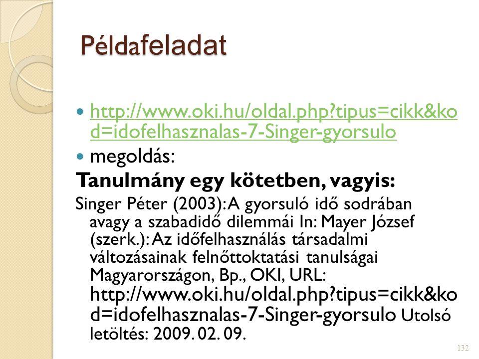 Példa feladat  http://www.oki.hu/oldal.php?tipus=cikk&ko d=idofelhasznalas-7-Singer-gyorsulo http://www.oki.hu/oldal.php?tipus=cikk&ko d=idofelhasznalas-7-Singer-gyorsulo  megoldás: Tanulmány egy kötetben, vagyis: Singer Péter (2003): A gyorsuló idő sodrában avagy a szabadidő dilemmái In: Mayer József (szerk.): Az időfelhasználás társadalmi változásainak felnőttoktatási tanulságai Magyarországon, Bp., OKI, URL: http://www.oki.hu/oldal.php?tipus=cikk&ko d=idofelhasznalas-7-Singer-gyorsulo Utolsó letöltés: 2009.