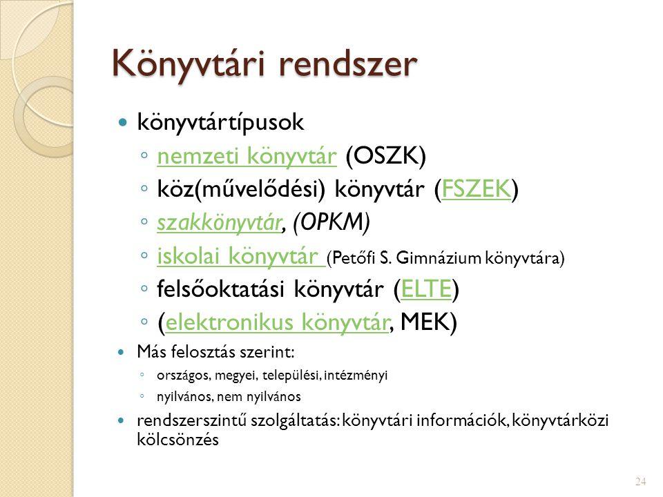 Könyvtári rendszer  könyvtártípusok ◦ nemzeti könyvtár (OSZK) nemzeti könyvtár ◦ köz(művelődési) könyvtár (FSZEK)FSZEK ◦ szakkönyvtár, (OPKM) szakkönyvtár ◦ iskolai könyvtár (Petőfi S.
