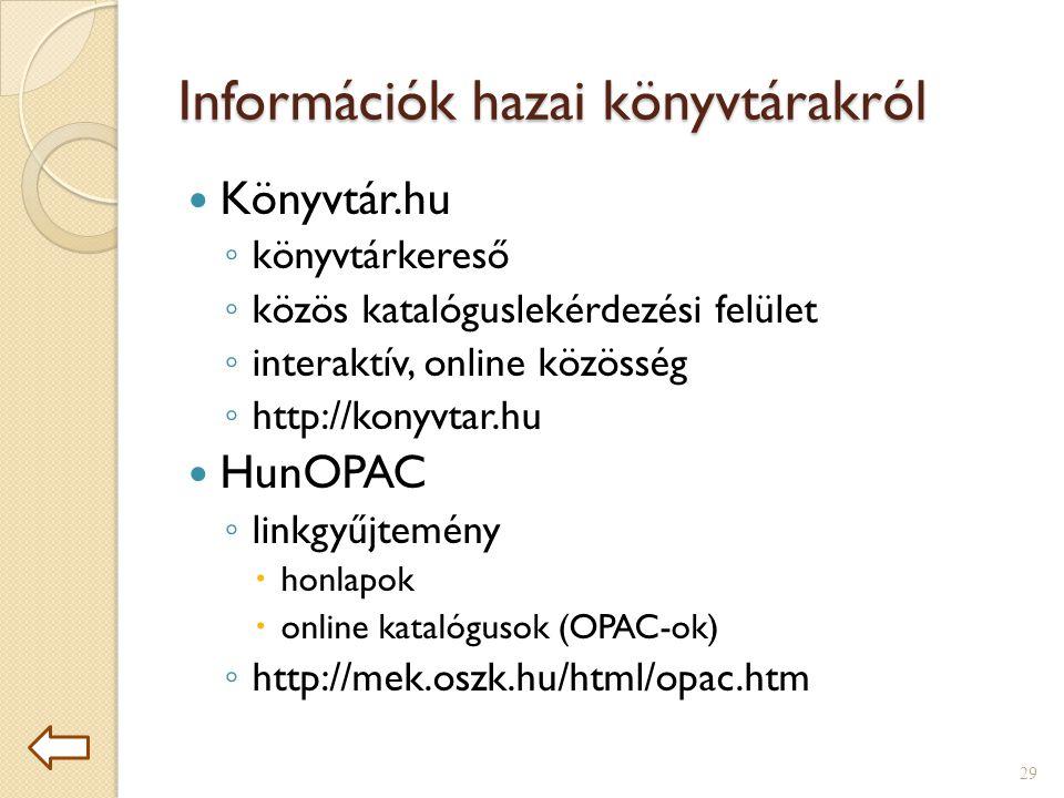 Információk hazai könyvtárakról  Könyvtár.hu ◦ könyvtárkereső ◦ közös katalóguslekérdezési felület ◦ interaktív, online közösség ◦ http://konyvtar.hu