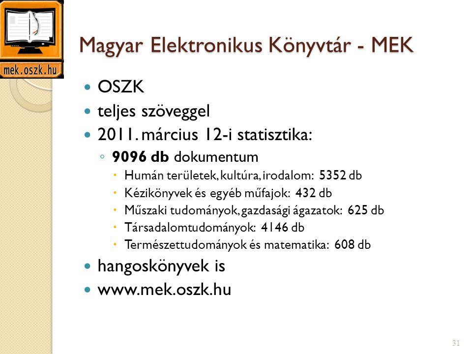 Magyar Elektronikus Könyvtár - MEK  OSZK  teljes szöveggel  2011. március 12-i statisztika: ◦ 9096 db dokumentum  Humán területek, kultúra, irodal