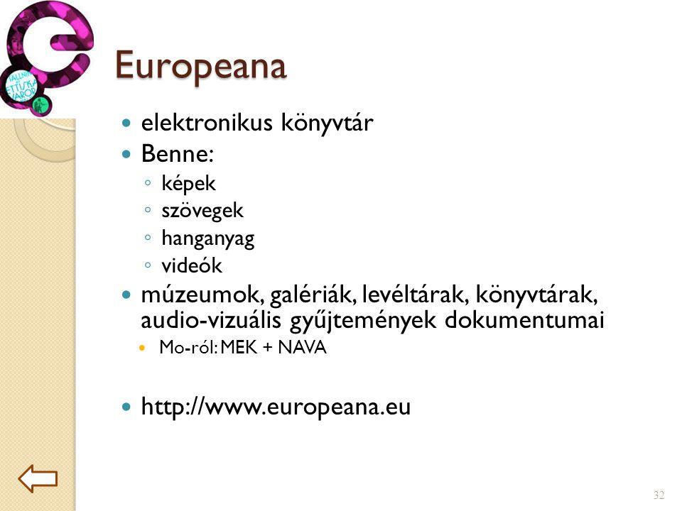 Europeana  elektronikus könyvtár  Benne: ◦ képek ◦ szövegek ◦ hanganyag ◦ videók  múzeumok, galériák, levéltárak, könyvtárak, audio-vizuális gyűjtemények dokumentumai  Mo-ról: MEK + NAVA  http://www.europeana.eu 32