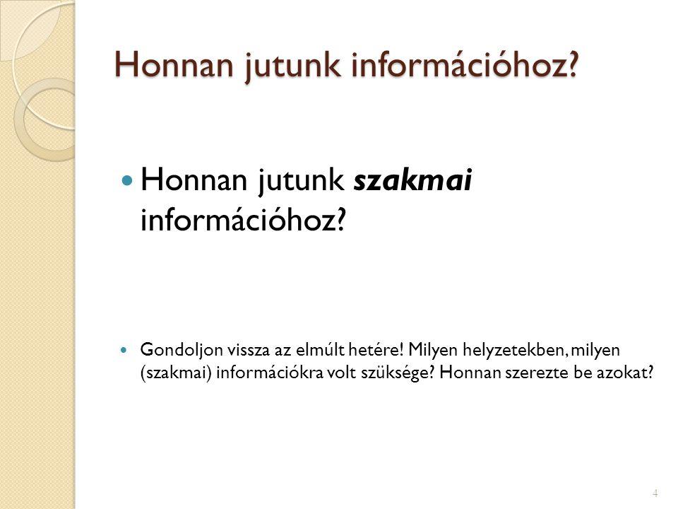 Honnan jutunk információhoz?  Honnan jutunk szakmai információhoz?  Gondoljon vissza az elmúlt hetére! Milyen helyzetekben, milyen (szakmai) informá
