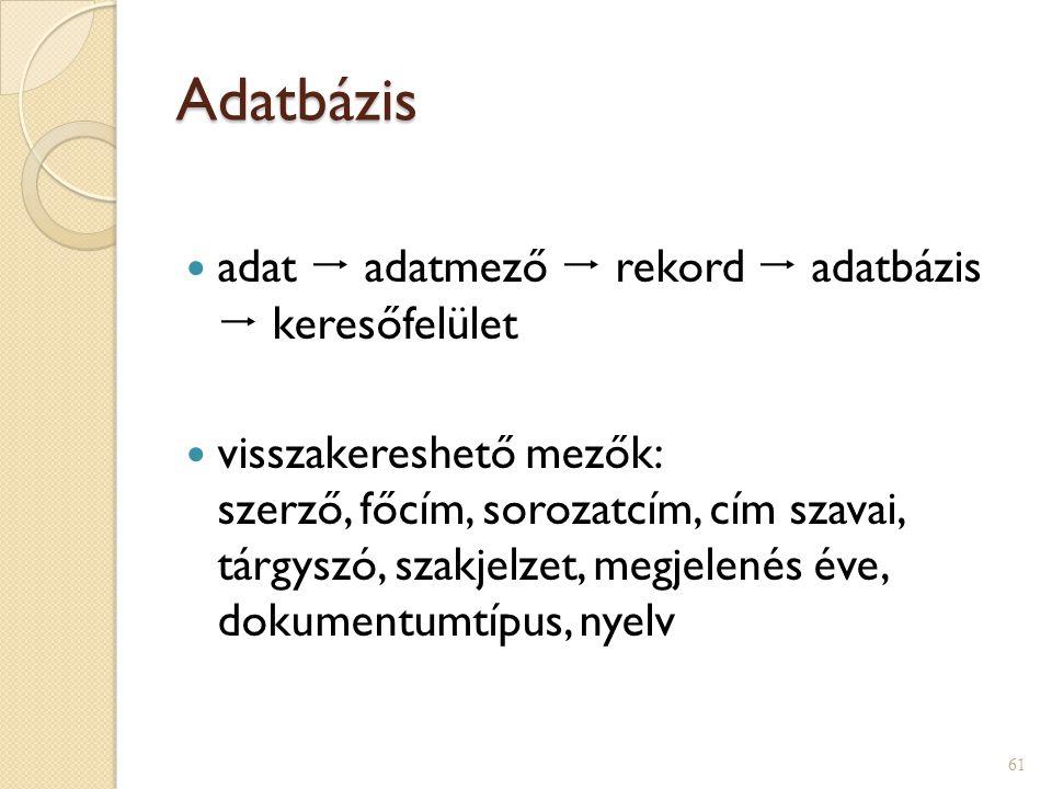 Adatbázis  adat  adatmező  rekord  adatbázis  keresőfelület  visszakereshető mezők: szerző, főcím, sorozatcím, cím szavai, tárgyszó, szakjelzet,
