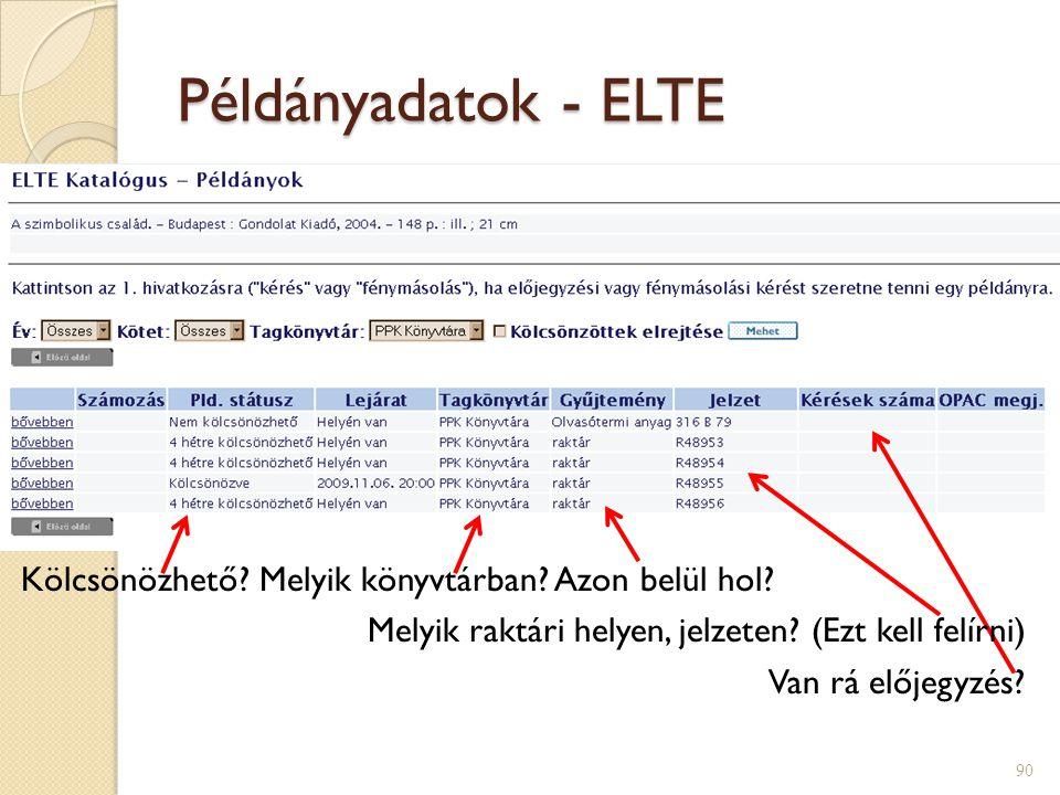 Példányadatok - ELTE 90 Kölcsönözhető.Melyik könyvtárban.