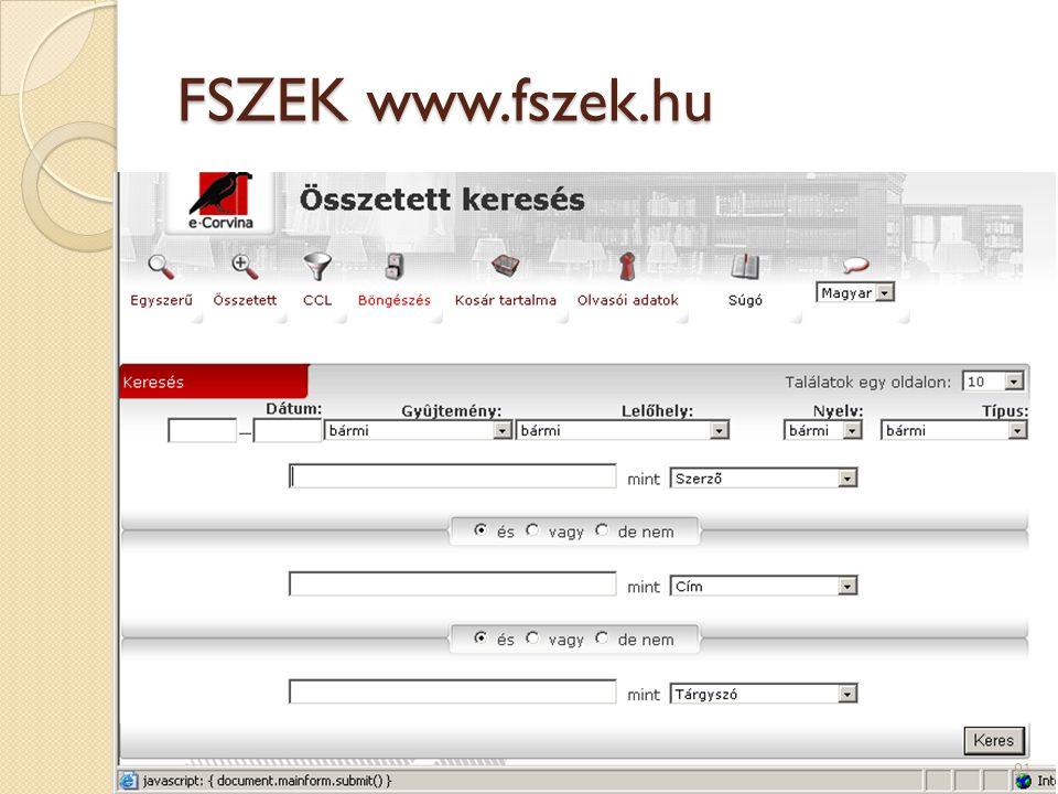 FSZEK www.fszek.hu 91