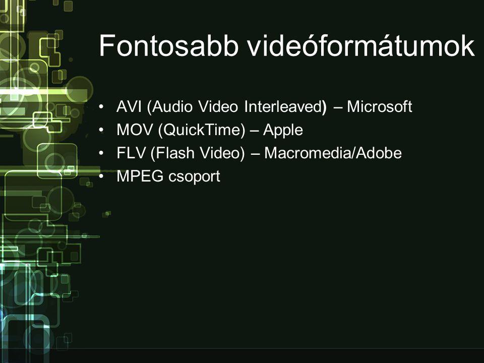 Az MPEG kódolása •Az egymás utáni képkockákat 3 különböző módon képezi: o I-képek (Intra): nagy pontosságúak, csak önmagukban tömörítettek, méretük viszonylag nagy o P-képek (Predicted): az eljárás a megelőző I vagy P típusú képhez viszonyított változást tárolja csak o B-képek (Bidirectional): ezek képtartalma az előző és utána következő képek alapján kerül kiszámításra