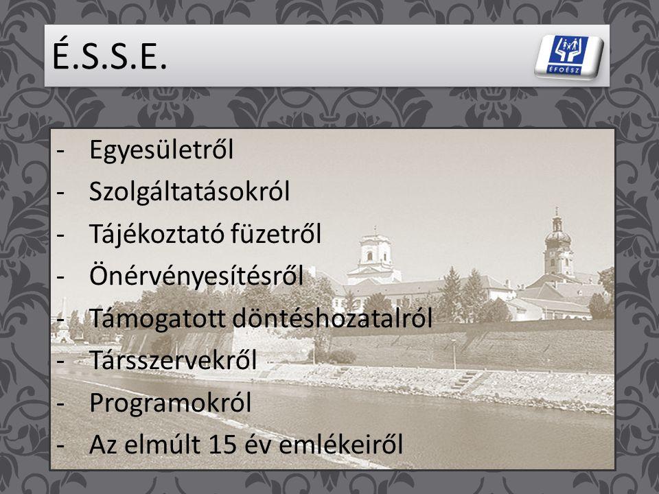 ÉFOÉSZ Értelmileg Sérültek és Segítőik Győr – Moson – Sopron megyei Egyesületének 15 éves jubileumi évfordulója