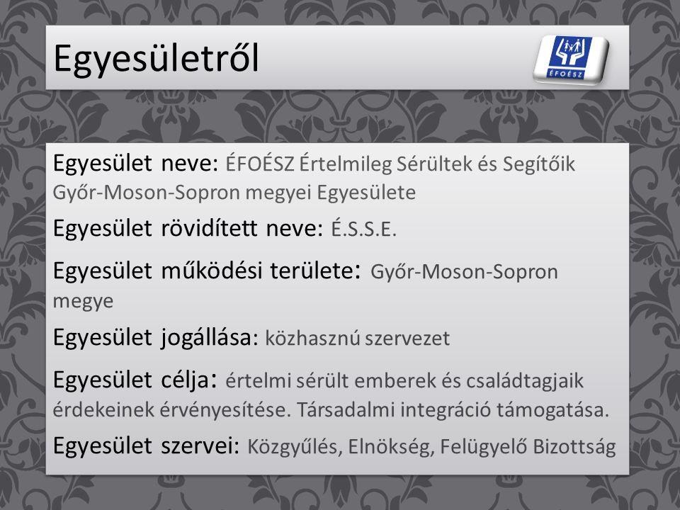 Egyesületről Egyesület neve: ÉFOÉSZ Értelmileg Sérültek és Segítőik Győr-Moson-Sopron megyei Egyesülete Egyesület rövidített neve: É.S.S.E.