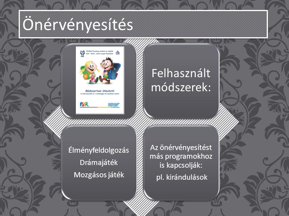 Felhasznált módszerek: Élményfeldolgozás Drámajáték Mozgásos játék Az önérvényesítést más programokhoz is kapcsolják: pl.