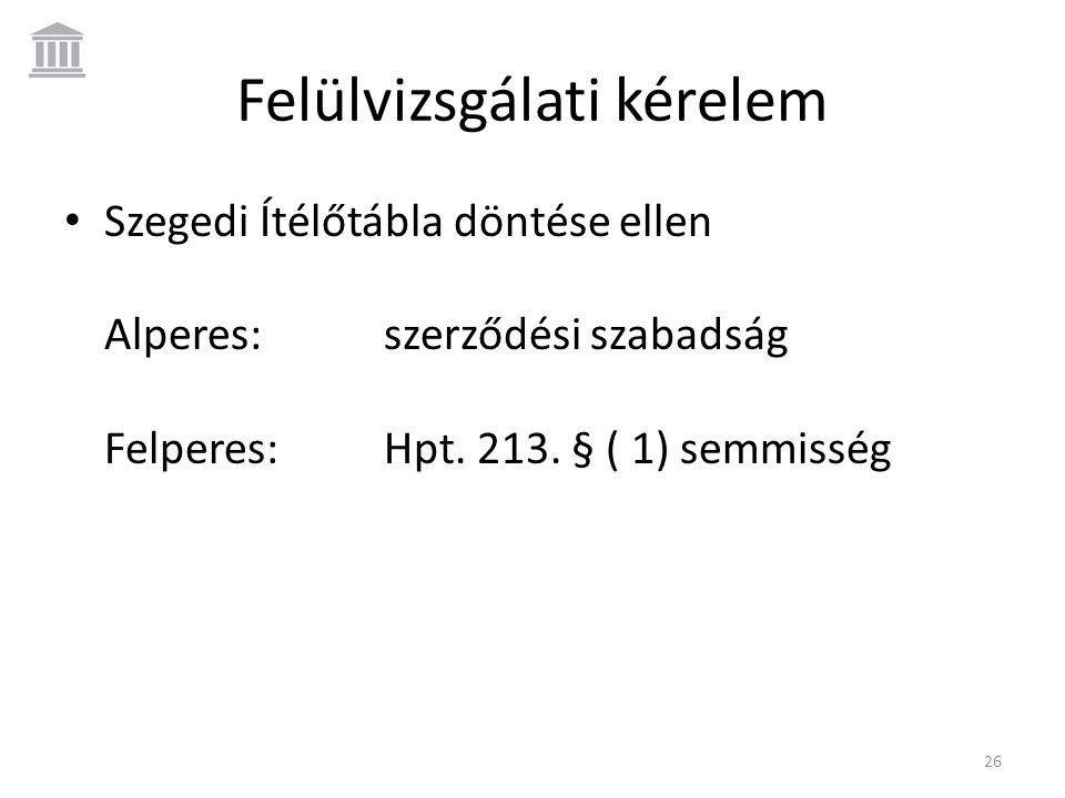 Felülvizsgálati kérelem • Szegedi Ítélőtábla döntése ellen Alperes:szerződési szabadság Felperes:Hpt. 213. § ( 1) semmisség 26
