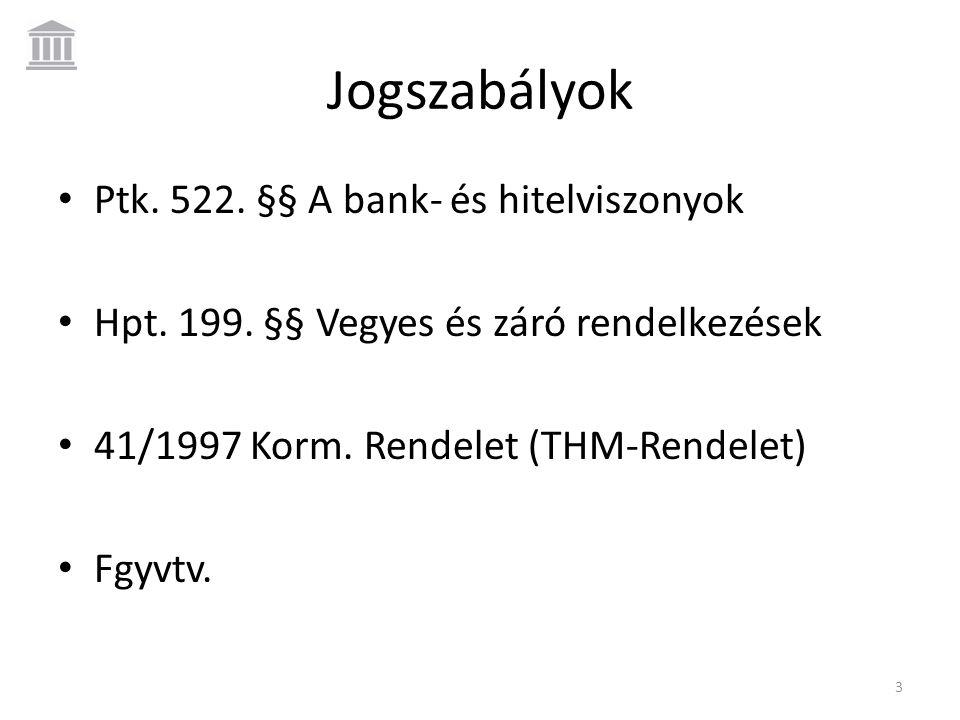 Jogszabályok • Ptk. 522. §§ A bank- és hitelviszonyok • Hpt. 199. §§ Vegyes és záró rendelkezések • 41/1997 Korm. Rendelet (THM-Rendelet) • Fgyvtv. 3