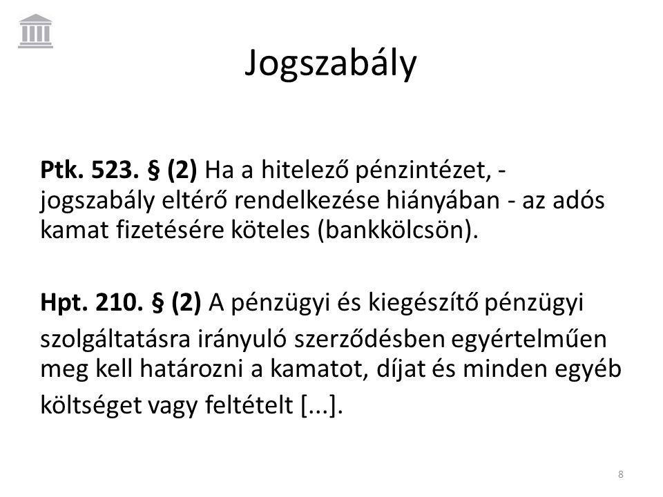 Jogszabály Ptk. 523. § (2) Ha a hitelező pénzintézet, - jogszabály eltérő rendelkezése hiányában - az adós kamat fizetésére köteles (bankkölcsön). Hpt