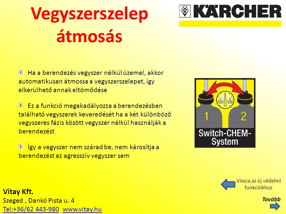 Vitay Kft. Szeged, Dankó Pista u. 4 Tel:+36/62 443-980Tel:+36/62 443-980 www.vitay.huwww.vitay.hu Vegyszerszelep átmosás Vissza az új védelmi funkciók