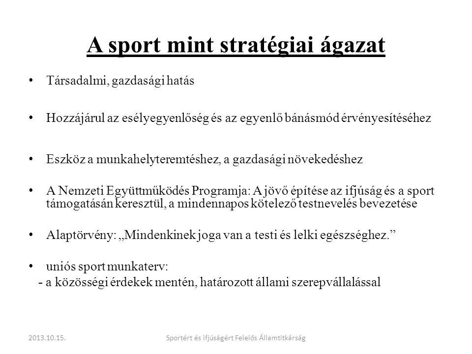A sport mint stratégiai ágazat • Társadalmi, gazdasági hatás • Hozzájárul az esélyegyenlőség és az egyenlő bánásmód érvényesítéséhez • Eszköz a munkah