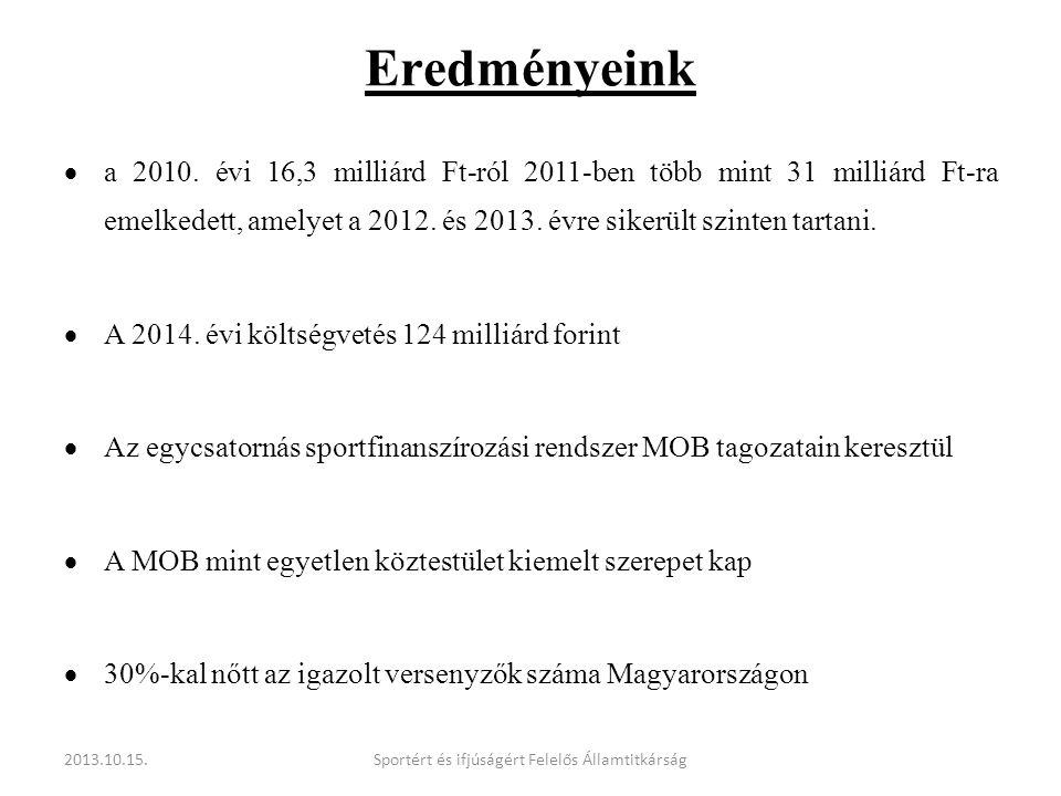 Eredményeink  a 2010. évi 16,3 milliárd Ft-ról 2011-ben több mint 31 milliárd Ft-ra emelkedett, amelyet a 2012. és 2013. évre sikerült szinten tartan