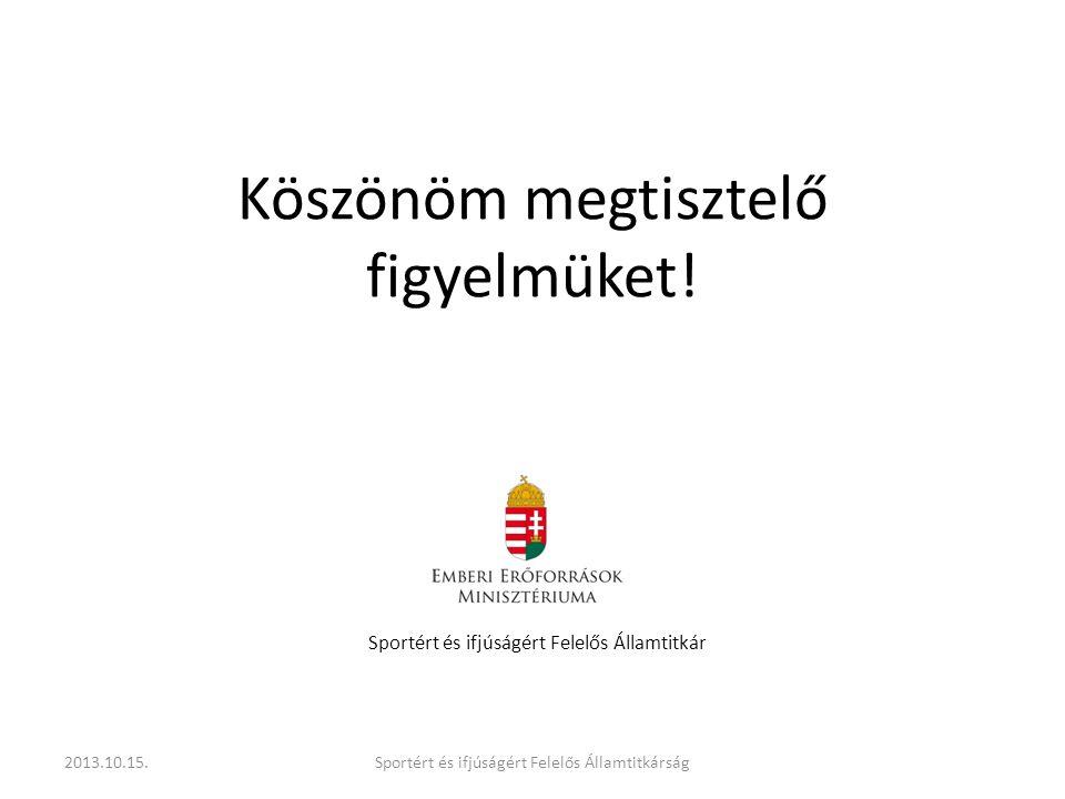 Köszönöm megtisztelő figyelmüket! Sportért és ifjúságért Felelős Államtitkár 2013.10.15.Sportért és ifjúságért Felelős Államtitkárság