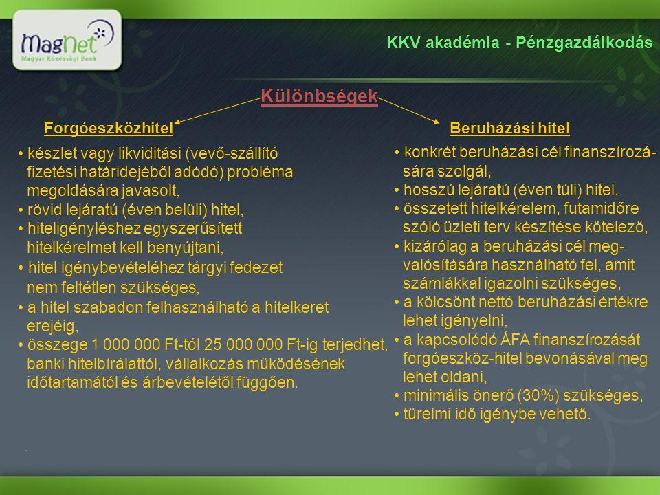 KKV akadémia - Pénzgazdálkodás Különbségek. ForgóeszközhitelBeruházási hitel • készlet vagy likviditási (vevő-szállító fizetési határidejéből adódó) p