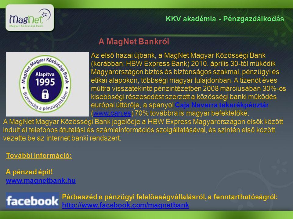 KKV akadémia - Pénzgazdálkodás A MagNet Bankról Az első hazai újbank, a MagNet Magyar Közösségi Bank (korábban: HBW Express Bank) 2010. április 30-tól