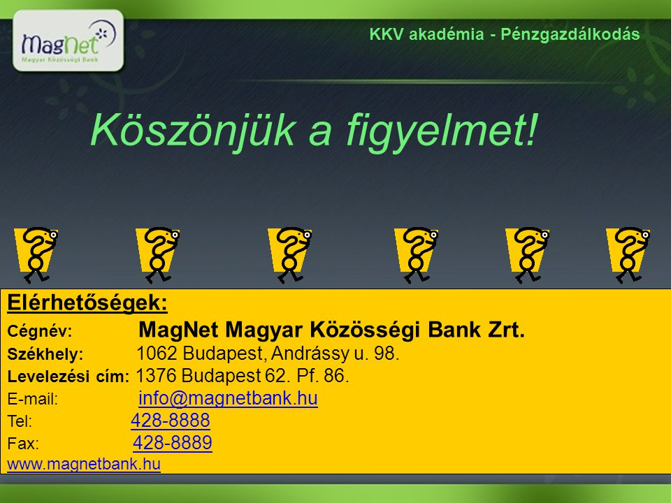 KKV akadémia - Pénzgazdálkodás Elérhetőségek: Cégnév: MagNet Magyar Közösségi Bank Zrt. Székhely: 1062 Budapest, Andrássy u. 98. Levelezési cím: 1376